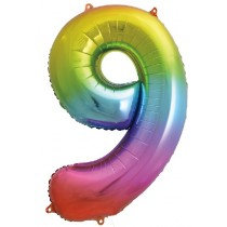 Rainbow Stripe Number 9 Foil Balloon