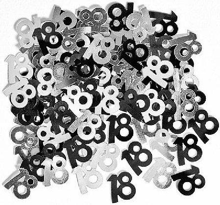 Black Glitz Age 18 Confetti
