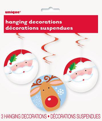 Santa and Reindeer Swirl Decorations