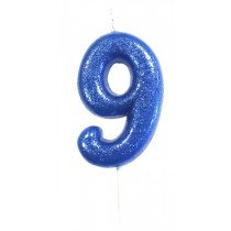 Blue Glitter Number 9 Candle