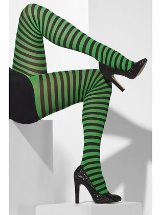 Adult Black and Green Striped Tights