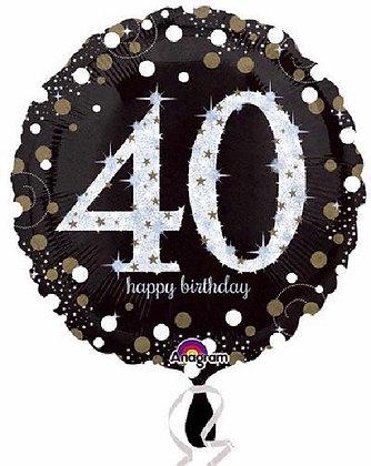 Gold Sparkle Age 40 Foil Balloon