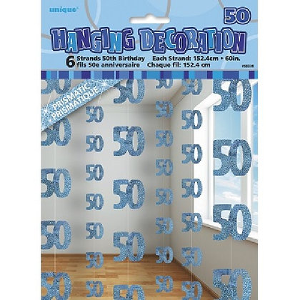 Blue Glitz Age 50 String Decoration