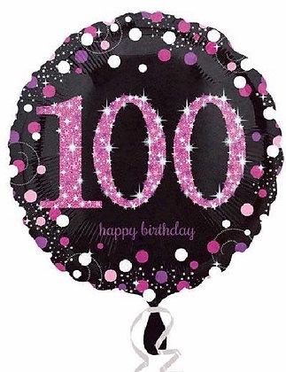 Pink Sparkle Age 100 Foil Balloon