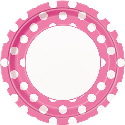 "Magenta Dotty 9"" Paper Plates"