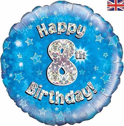 Blue Number 8 Foil Balloon
