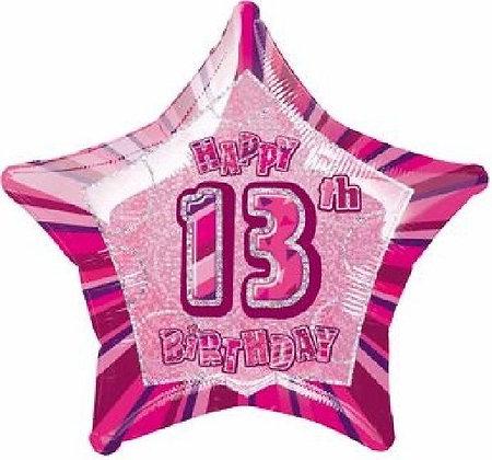 Pink Glitz Age 13 Foil Balloon