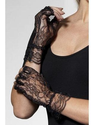 Adult Black Lace Fingerless Gloves