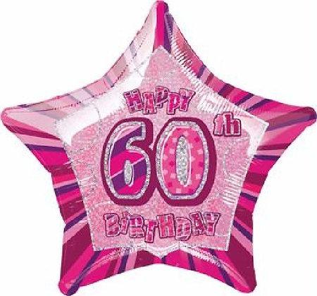 Pink Glitz Age 60 Foil Balloon
