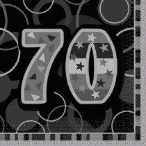 Black Glitz Age 70 Napkin