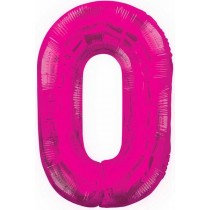 Pink Giant Number 0 Foil Balloon