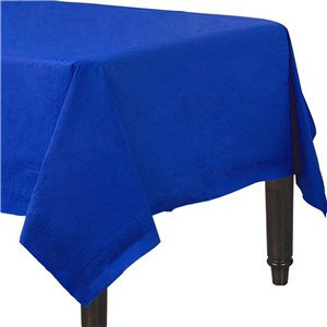 Royal Blue Plastic-Lined Paper Tablecover