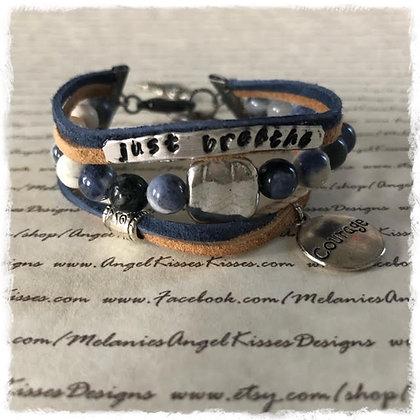 "Inspirational Message Wrap Bracelet-Denim ""Courage"""
