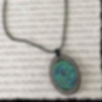 Blue-Green Druzy N Rhinestone pendant_ed