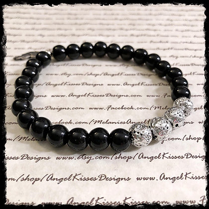 Gemstone Stretch- Black Jasper N Silver Lava Stone