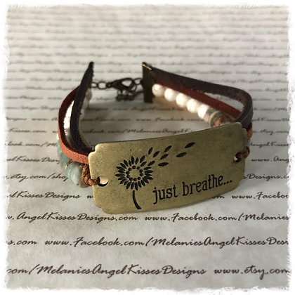 Stamped Focal Wrapped Bracelet- Just Breathe