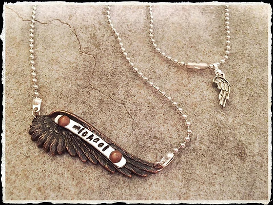 """On An Angels Wing"" Stamped Necklace"
