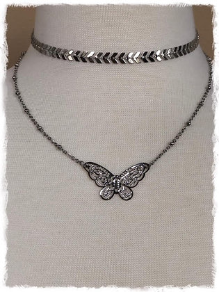 Chevron Double Layer Choker Necklace- Stainless Steel Butterfly