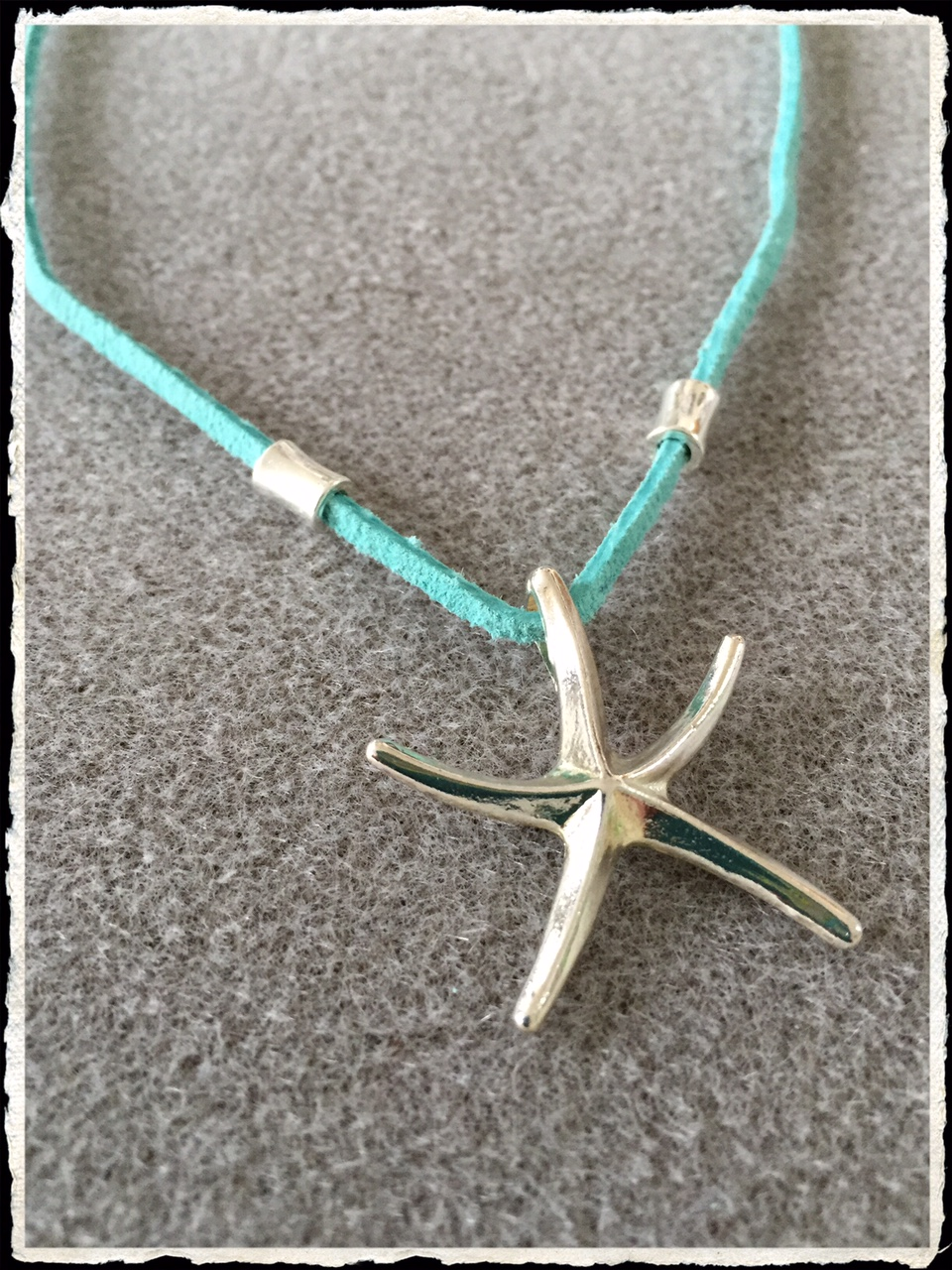 Summer Suede Collection- Aqua Silver Starfish