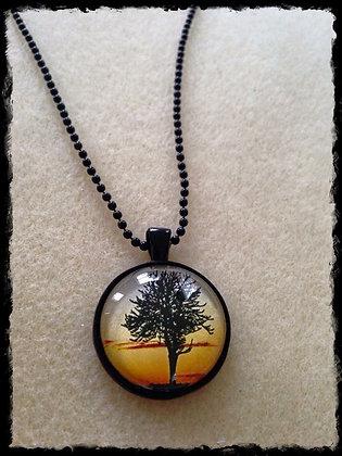 Simple Circle Pendant- Sunset Tree