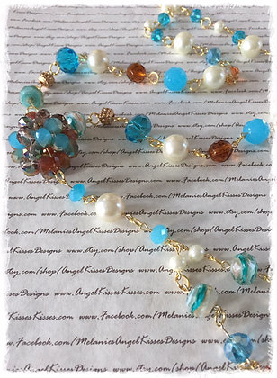 XL Beaded Necklace- Turquoise N Amber