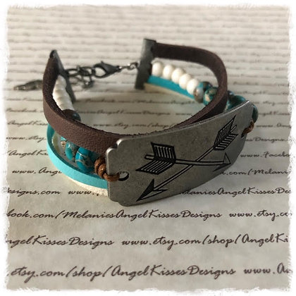 Stamped Focal Wrapped Bracelet- Arrows