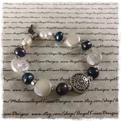 Natural Pearl Medallion Stretch Bracelet
