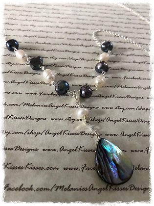 Abalone Tear Drop N Fresh Pearl Necklace