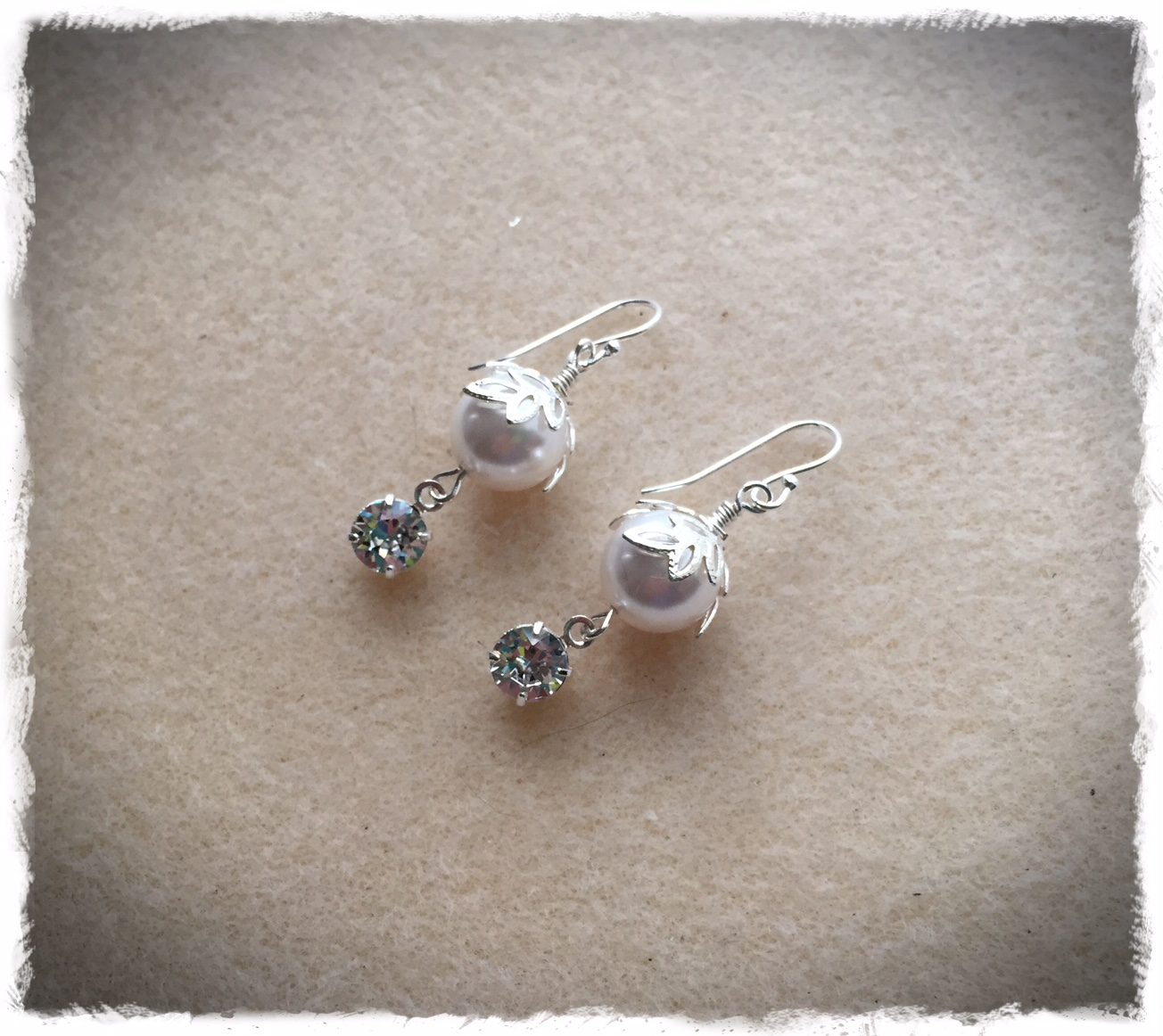 Swarovski Leaf Capped Pearl Dangle