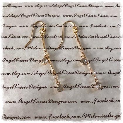 Gold Crystal Drop Earrimgs
