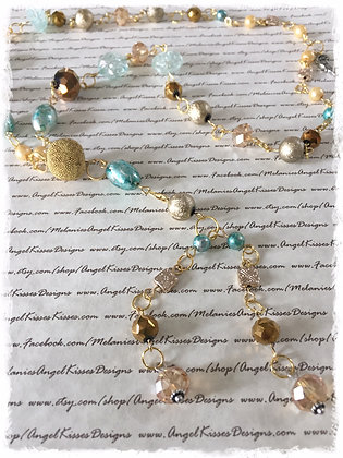 XL Beaded Necklace- Aqua N Amber