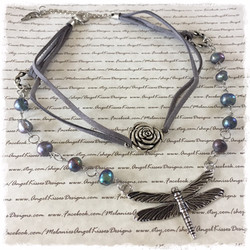 DragonFly In the Garden- double layer choker