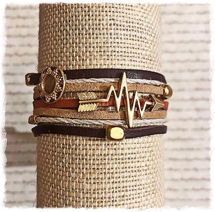 Boho Arrow Wrap Bracelet- Brown