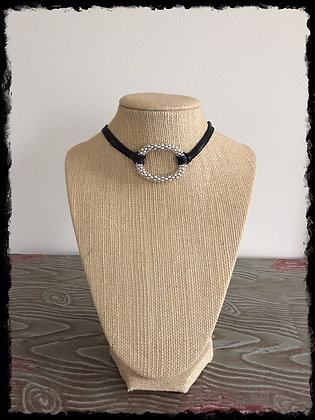 Silver Chic Leather Choker
