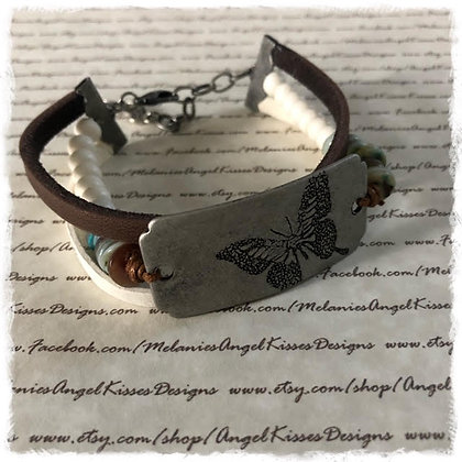 Stamped Focal Wrapped Bracelet- Butterfly