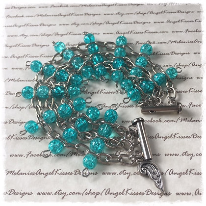 the Chained Melody Bracelet- Turquoise Crackle
