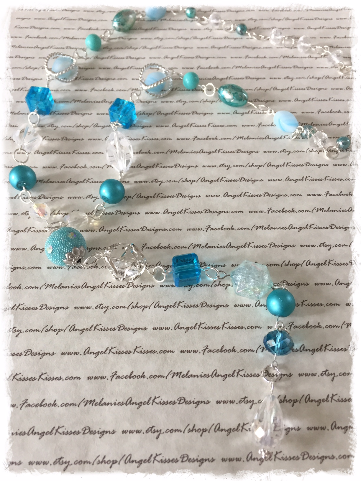 XL Beaded Aqua N Turquoise Ice