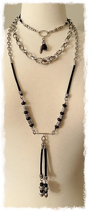 Chunky Boho Chic Triple Layer- Black Stainless