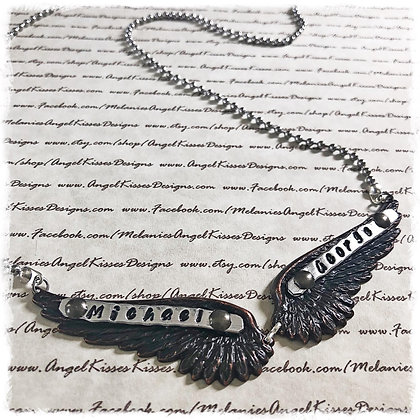"""On Angel Wings"" Stamped Necklace"