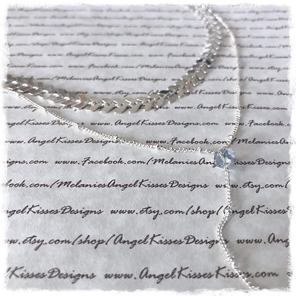 Chevron Double Layer Choker Necklace- Shiny Silver Bead Drop