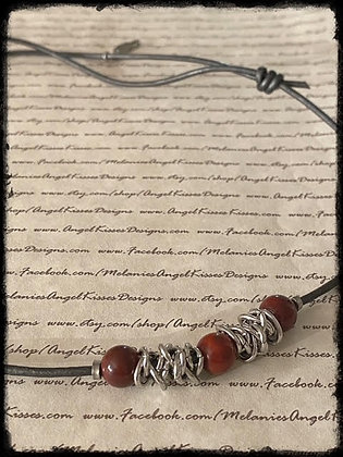 Chained Up- Apple Jasper Necklace