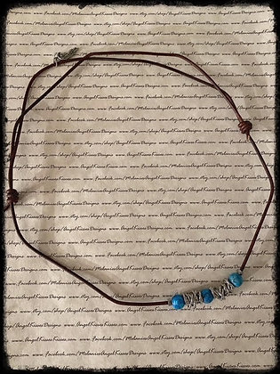 Chained Up- Blue Agate Necklace