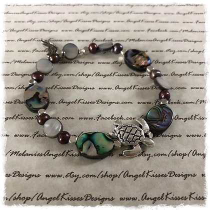 Abalone N Shell Turtle Stretch Bracelet