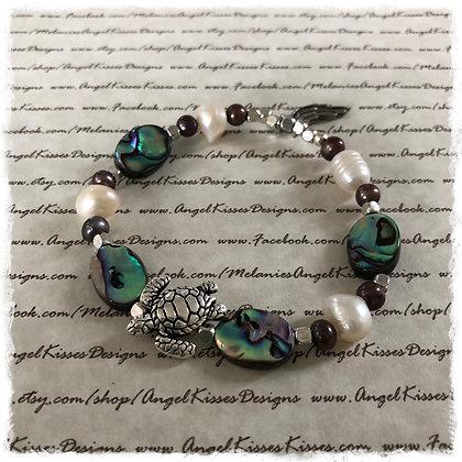 Abalone N Pearls Turtle Stretch Bracelet