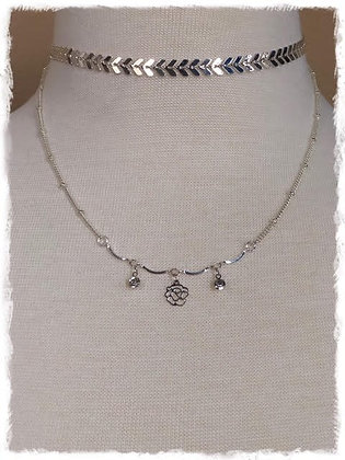 Chevron Double Layer Choker Necklace- Shiny Silver Flower N Crystals