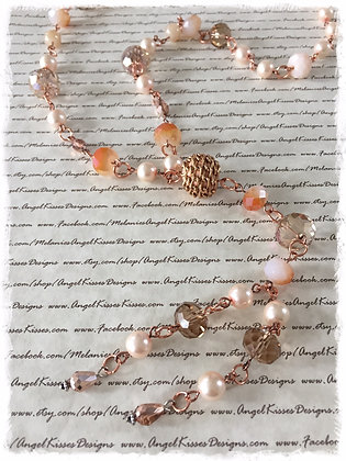XL Beaded Necklace- Victorian Blush