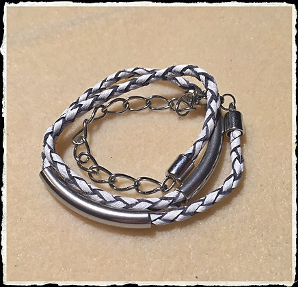 Leather N Stainless Wrap-  Gray N White
