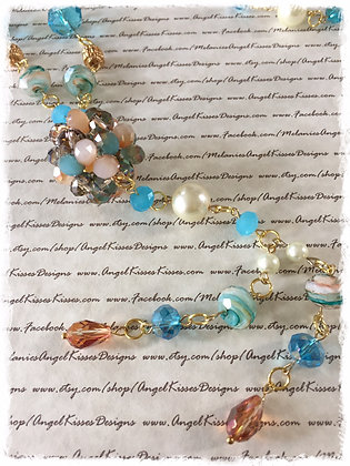 XL Beaded Necklace- Turquoise N Cream