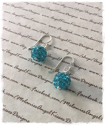 Crystal Snowball Earrings- Aqua