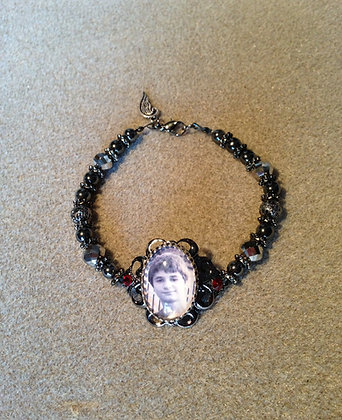 Custom Hematite Beaded Photo Bracelet